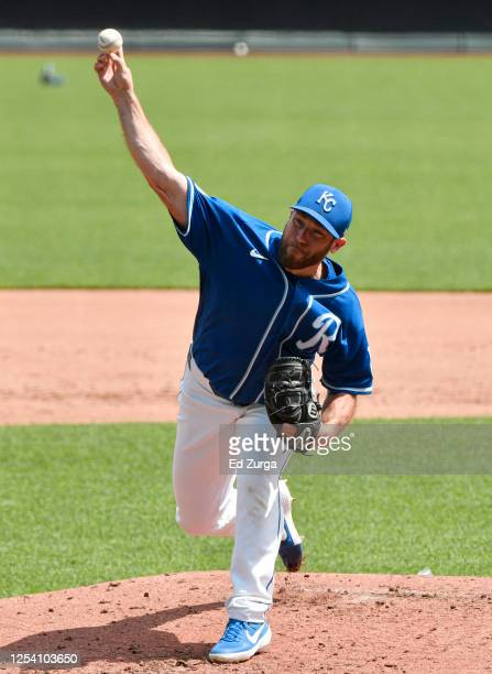 Greg Holland of the Kansas City Royals throws during the first day of the MLB Summer Camp workouts at Kauffman Stadium on July 03, 2020 in Kansas...