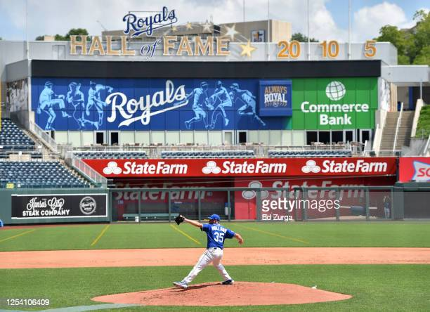 Greg Holland of the Kansas City Royals throws during the first day of MLB Summer Camp workouts at Kauffman Stadium on July 03, 2020 in Kansas City,...