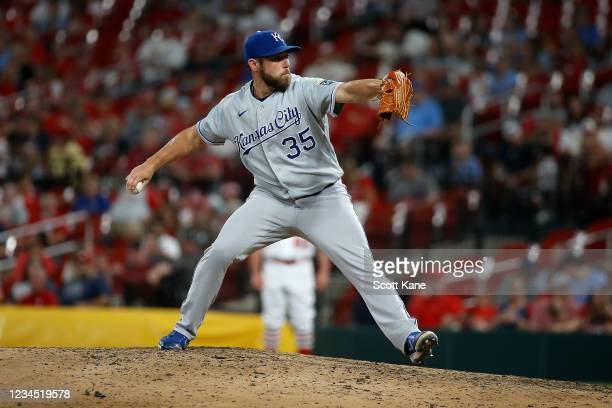 Greg Holland of the Kansas City Royals throws during the seventh inning against the St. Louis Cardinals at Busch Stadium on August 6, 2021 in St....