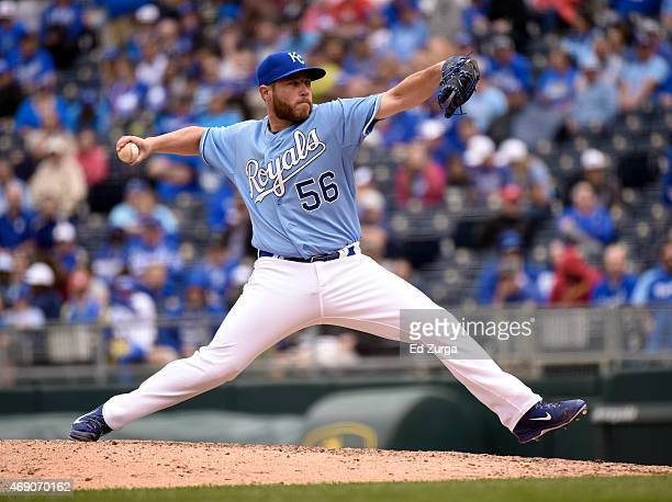 Greg Holland of the Kansas City Royals throws in the ninth inning during a game against the Chicago White Sox on April 9, 2015 at Kauffman Stadium in...
