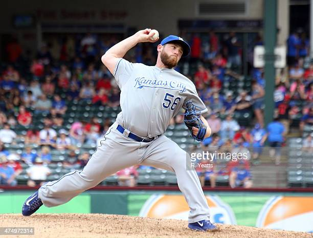 Greg Holland of the Kansas City Royals throws in the ninth inning against the Texas Rangers at Globe Life Park in Arlington on May 14 2015 in...