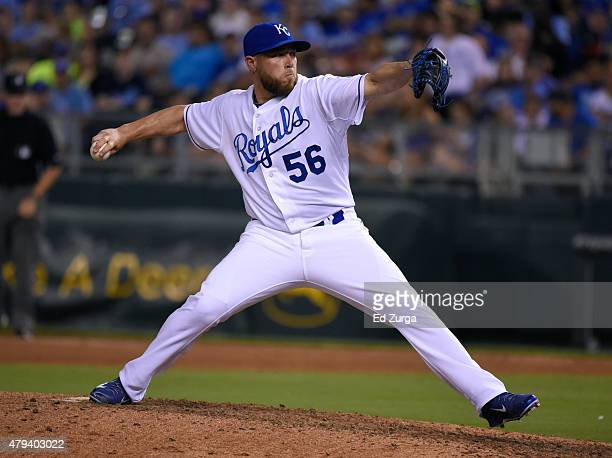 Greg Holland of the Kansas City Royals throws in the ninth inning against the Minnesota Twins at Kauffman Stadium on July 3 2015 in Kansas City...