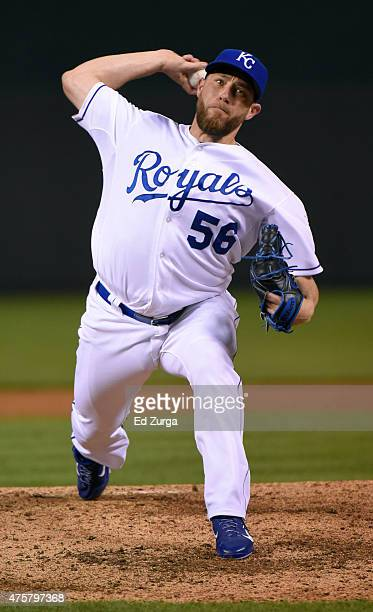 Greg Holland of the Kansas City Royals warms up in the ninth inning against the Cleveland Indians at Kauffman Stadium on June 3 2015 in Kansas City...