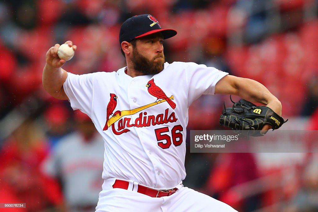 Greg Holland #56 of the St. Louis Cardinals pitches against the Cincinnati Reds in the ninth inning at Busch Stadium on April 22, 2018 in St. Louis, Missouri.