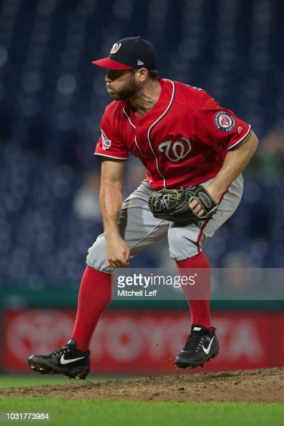 Greg Holland of the Washington Nationals throws a pitch in the bottom of the tenth inning against the Philadelphia Phillies in game 2 of the...