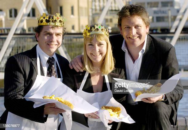 Greg Howard and Caroline Howard winners and owners of 'Our Plaice' with James Martin