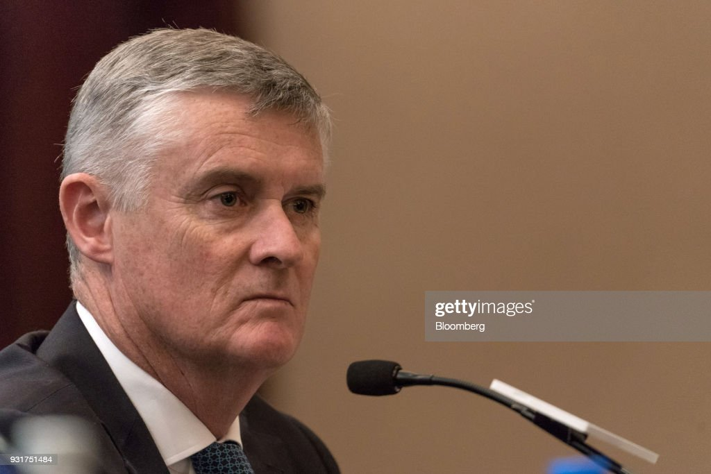 Greg Hughes, chief operations and service delivery officer of Cathay Pacific Airways Ltd., attends a news conference in Hong Kong, China, on Wednesday, March 14, 2018. Asias biggest international carrier reported a surprise profit in the second half of 2017, with a pick-up in cargo and premium-travel demand helping narrow the full-yearnet lossto HK$1.26 billion ($161 million).Photographer: Anthony Kwan/Bloomberg via Getty Images