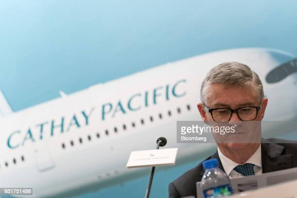 Greg Hughes chief operations and service delivery officer of Cathay Pacific Airways Ltd attends a news conference in Hong Kong China on Wednesday...