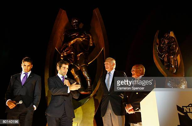 Greg Inglis and Cameron Smith of the Melbourne Storm talk on stage with rugby league legends Authur Summons and Norm Provan during the NRL 2008...
