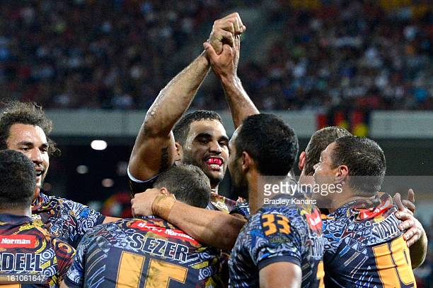 Greg Inglis and Reece Robinson of the Indigenous All Stars celebrate a try during the NRL All Stars Game between the Indigenous All Stars and the NRL...