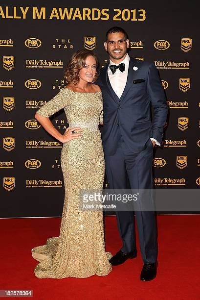 Greg Inglis and Sally Inglis arrive ahead of the 2013 Dally M Awards at Star City on October 1 2013 in Sydney Australia