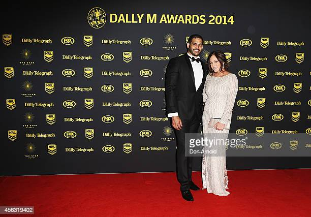 Greg Inglis and Sally Inglis arrive at the Dally M Awards at Star City on September 29 2014 in Sydney Australia