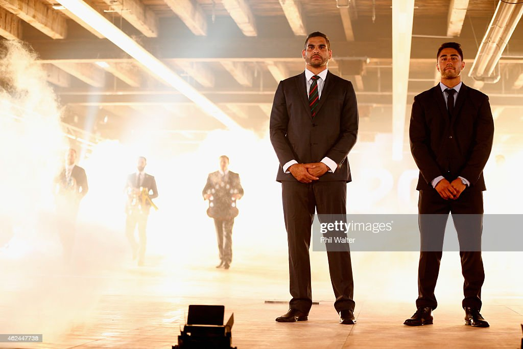 Greg Inglis (L) and Shaun Johnson (R) officially open the season during the 2015 NRL season launch at Shed 10 on January 29, 2015 in Auckland, New Zealand.