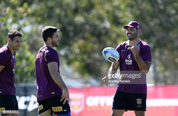 Greg Inglis Billy Slater and Ben Hunt share a laugh during a Queensland Maroons training session at Sanctuary Cove on May 31 2018 at the Gold Coast...