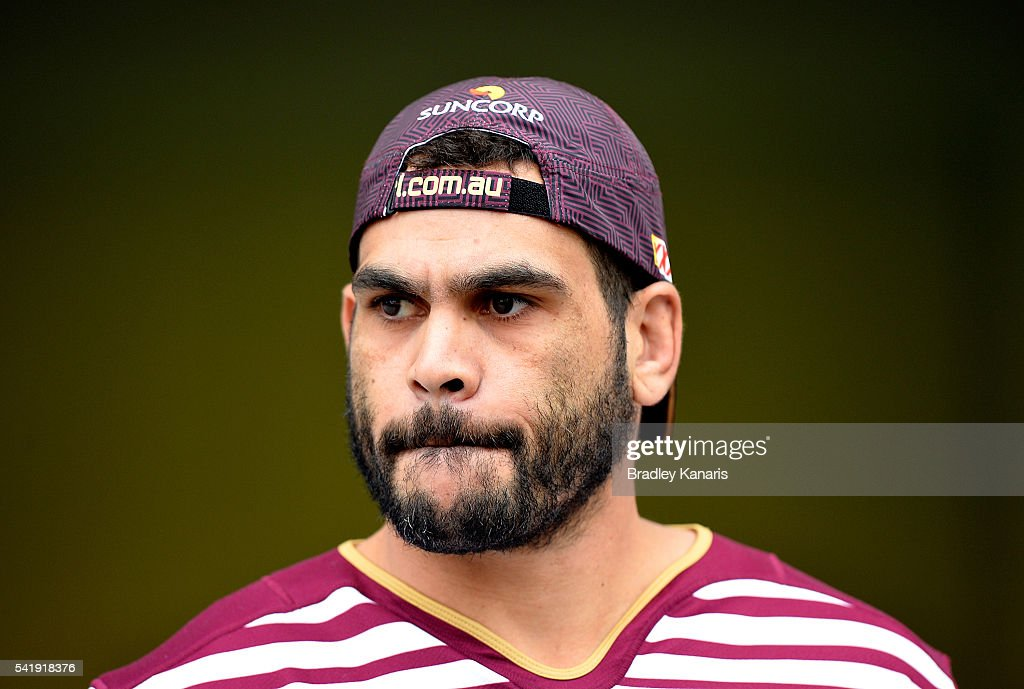 Greg Inglis enters the field of play during a Queensland Maroons State of Origin training session at Suncorp Stadium on June 21, 2016 in Brisbane, Australia.