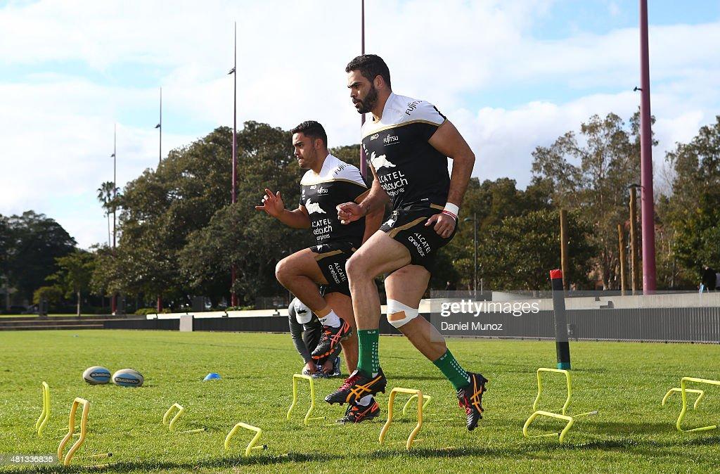 Greg Inglis excercises during a South Sydney Rabbitohs NRL training session at Redfern Olval on July 20, 2015 in Sydney, Australia.