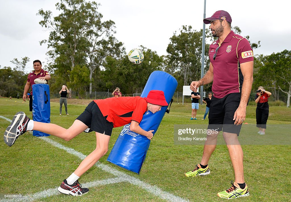 Greg Inglis helps out at a Junior Rugby League Clinic during a Queensland Maroons State of Origin Fan Day on June 14, 2016 in Gladstone, Australia.