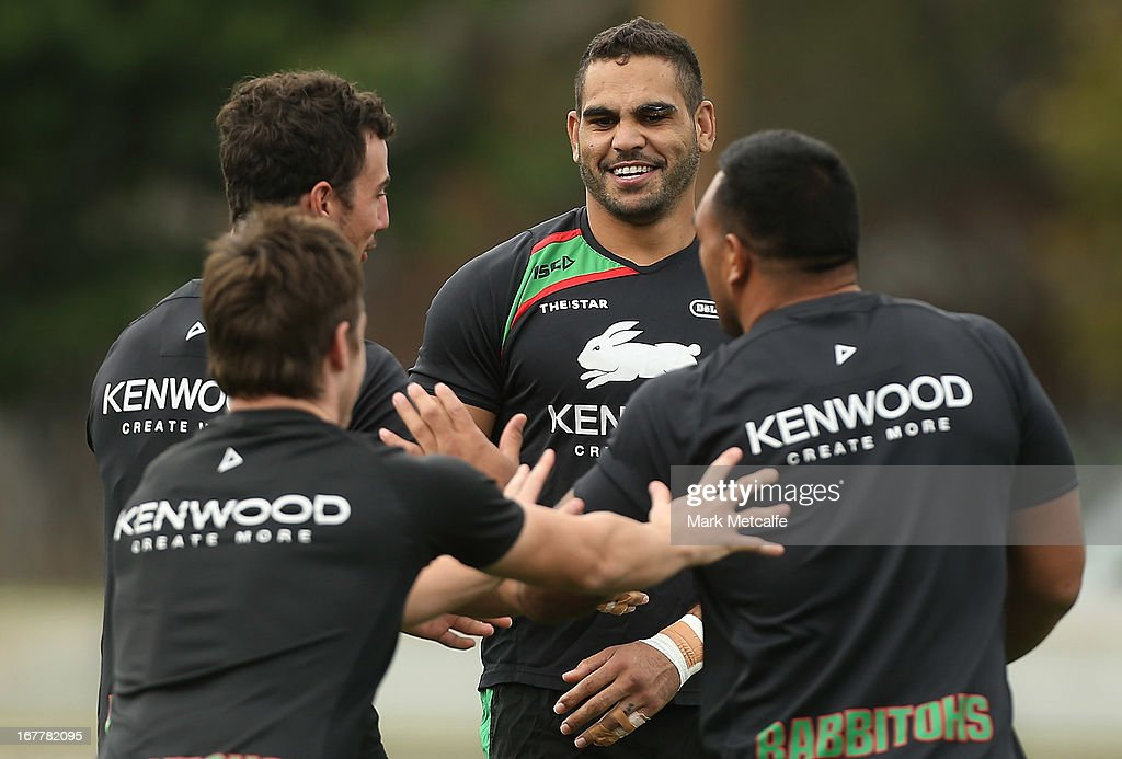 Greg Inglis jokes with teammates during a South Sydney Rabbitohs NRL training session at Redfern Oval on April 30, 2013 in Sydney, Australia.