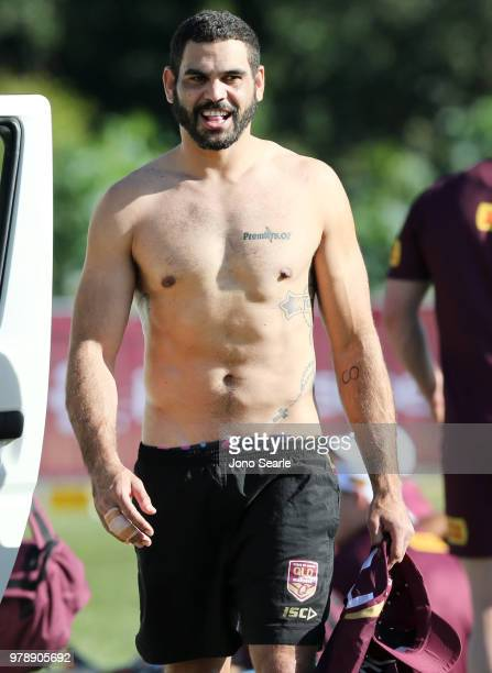 Greg Inglis looks on during a Queensland Maroons State of Origin training session at Sanctuary Cove on June 20 2018 in Brisbane Australia