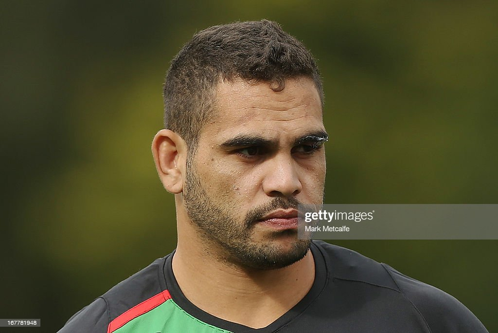 Greg Inglis looks on during a South Sydney Rabbitohs NRL training session at Redfern Oval on April 30, 2013 in Sydney, Australia.
