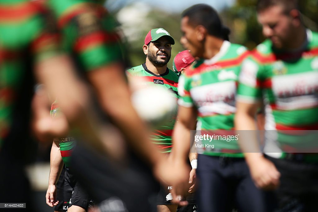 Greg Inglis looks on during a South Sydney Rabbitohs NRL training session at Redfern Oval on March 9, 2016 in Sydney, Australia.