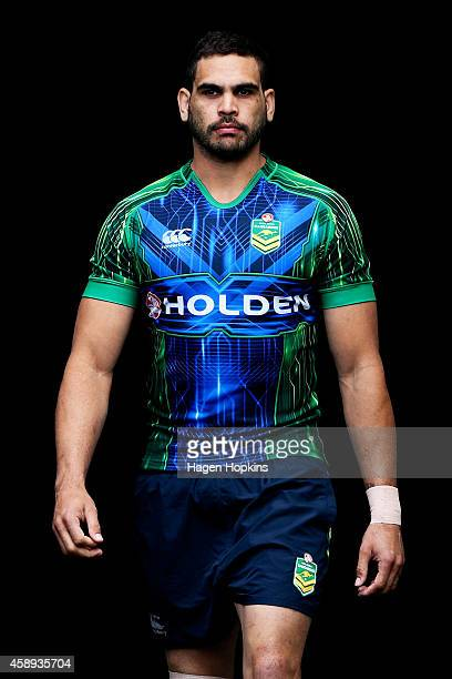 Greg Inglis looks on during an Australian Kangaroos training session at Westpac Stadium on November 14 2014 in Wellington New Zealand