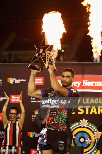 Greg Inglis of Indigenous All Stars celebrates the win during the NRL All Stars match between the 2017 Harvey Norman All Stars and the NRL World All...