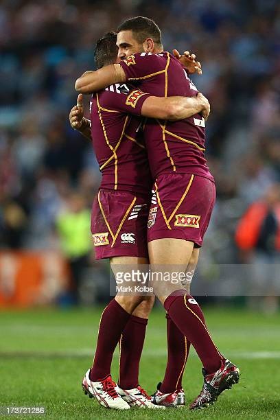 Greg Inglis of the Maroons celebrates winning game three of the ARL State of Origin series between the New South Wales Blues and the Queensland...