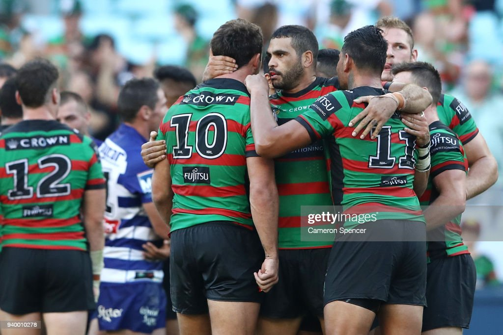 Greg Inglis of the Rabbitohs and Sam Burgess of the Rabbitohs celebrate winning the round four AFL match between the South Sydney Rabbitohs and the Canterbury Bulldogs at ANZ Stadium on March 30, 2018 in Sydney, Australia.