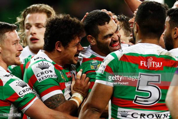 Greg Inglis of the Rabbitohs celebrates a try during the NRL Qualifying Final match between the Melbourne Storm and the South Sydney Rabbitohs at...
