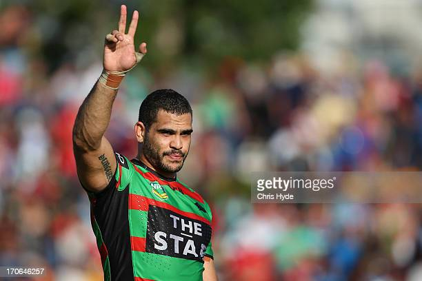 Greg Inglis of the Rabbitohs celebrates after winning the round 14 NRL match between the South Sydney Rabbitohs and the Gold Coast Titans at Barlow...