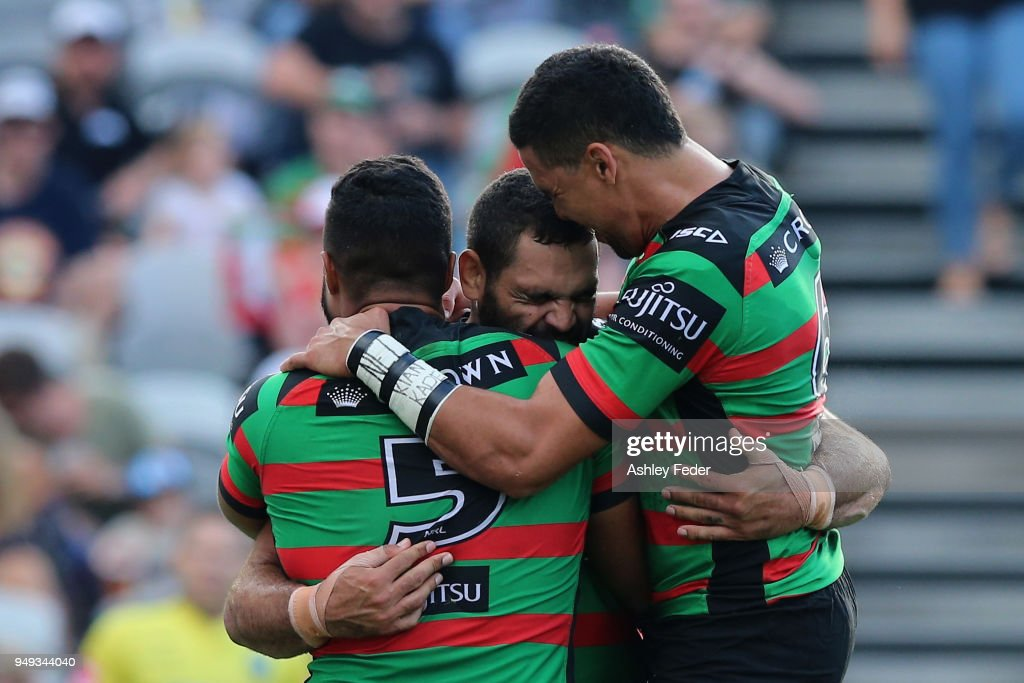 Greg Inglis of the Rabbitohs celebrates his try with team mates during the round seven NRL match between the South Sydney Rabbitohs and the Canberra Raiders at Central Coast Stadium on April 21, 2018 in Gosford, Australia.