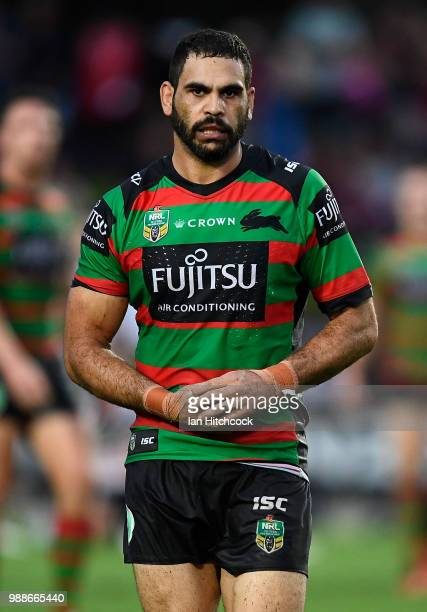 Greg Inglis of the Rabbitohs holds his hand after being injured during the round 16 NRL match between the South Sydney Rabbitohs and the North...
