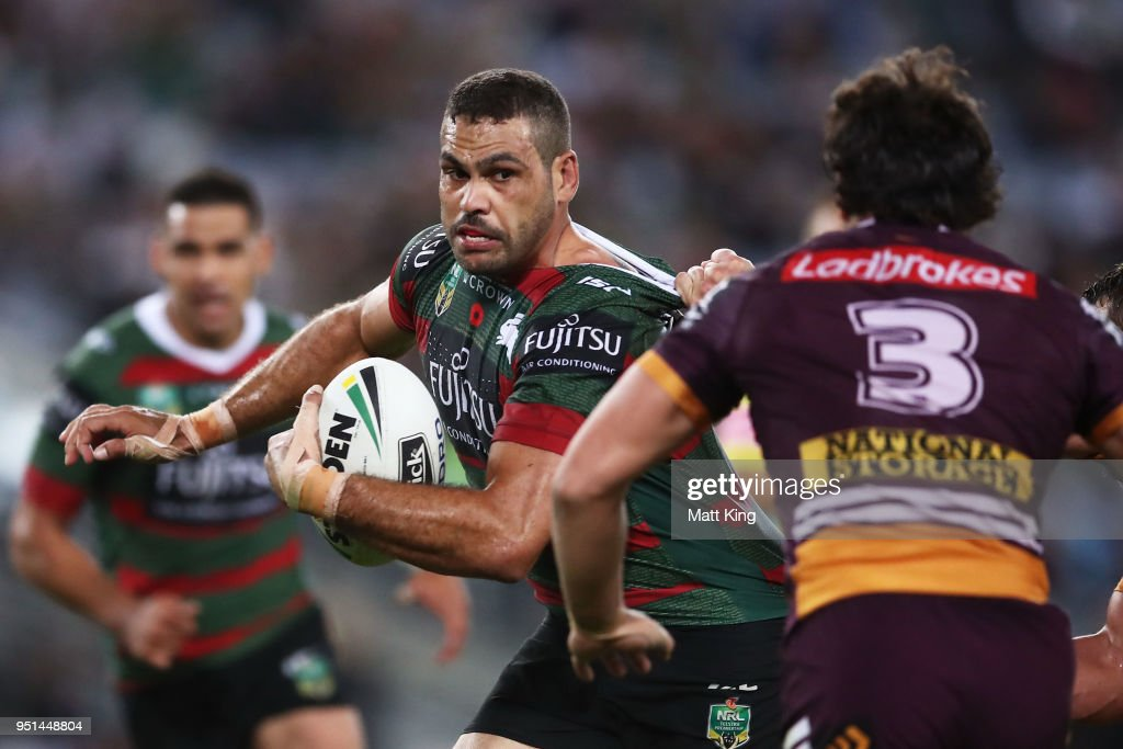 Greg Inglis of the Rabbitohs is tackled during the NRL round eight match between the South Sydney Rabbitohs and the Brisbane Broncos at ANZ Stadium on April 26, 2018 in Sydney, Australia.