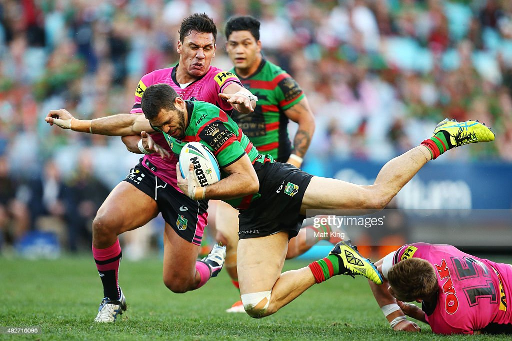 Greg Inglis of the Rabbitohs is tackled during the round 21 NRL match between the South Sydney Rabbitohs and the Penrith Panthers at ANZ Stadium on August 2, 2015 in Sydney, Australia.