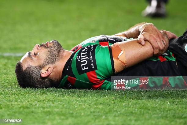 Greg Inglis of the Rabbitohs looks dejected after defeat during the NRL Preliminary Final match between the Sydney Roosters and the South Sydney...
