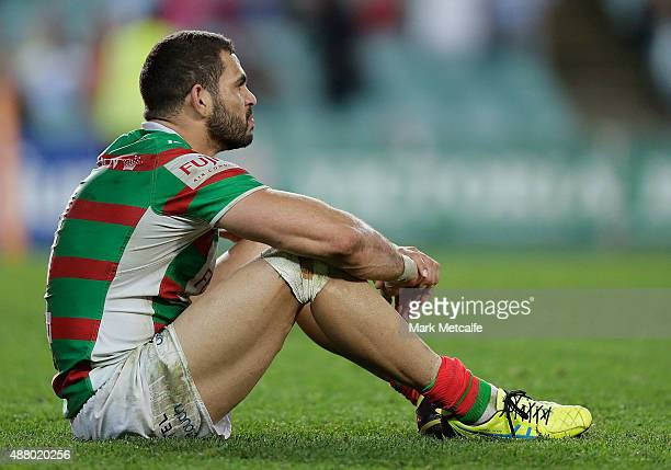 Greg Inglis of the Rabbitohs looks dejected after defeat in the NRL Elimination Final match between the Cronulla Sharks and the South Sydney...