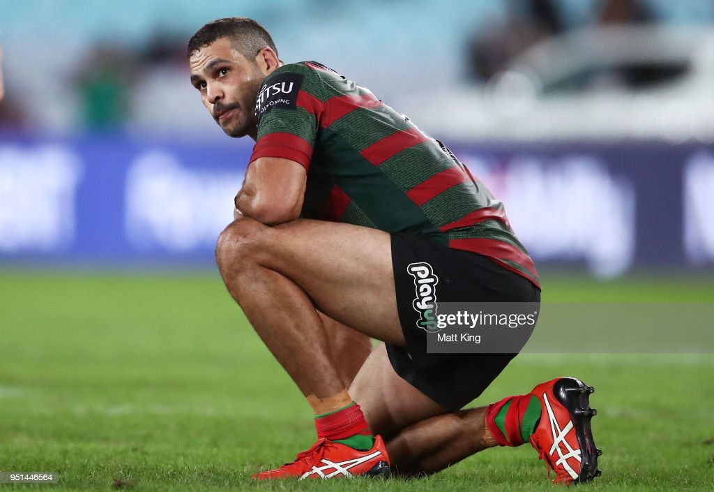 Greg Inglis of the Rabbitohs looks dejected at fulltime during the NRL round eight match between the South Sydney Rabbitohs and the Brisbane Broncos at ANZ Stadium on April 26, 2018 in Sydney, Australia.