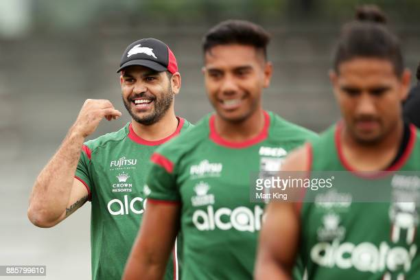 Greg Inglis of the Rabbitohs looks on during a South Sydney Rabbitohs NRL training session at Redfern Oval on December 5 2017 in Sydney Australia