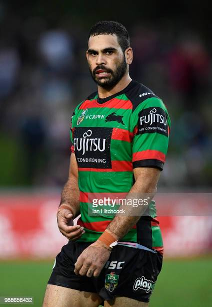 Greg Inglis of the Rabbitohs looks on during the round 16 NRL match between the South Sydney Rabbitohs and the North Queensland Cowboys at Barlow...