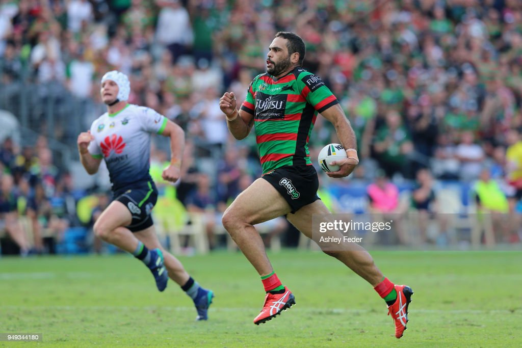Greg Inglis of the Rabbitohs makes a break during the round seven NRL match between the South Sydney Rabbitohs and the Canberra Raiders at Central Coast Stadium on April 21, 2018 in Gosford, Australia.