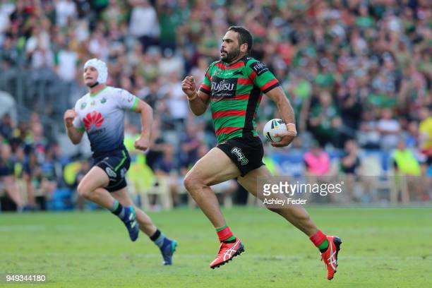 Greg Inglis of the Rabbitohs makes a break during the round seven NRL match between the South Sydney Rabbitohs and the Canberra Raiders at Central...