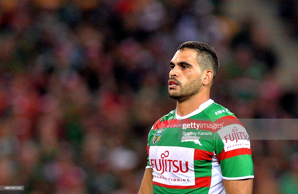 Greg Inglis of the Rabbitohs prepares for the restart of play during the round one NRL match between the Brisbane Broncos and the South Sydney Rabbitohs at Suncorp Stadium on March 5, 2015 in Brisbane, Australia.