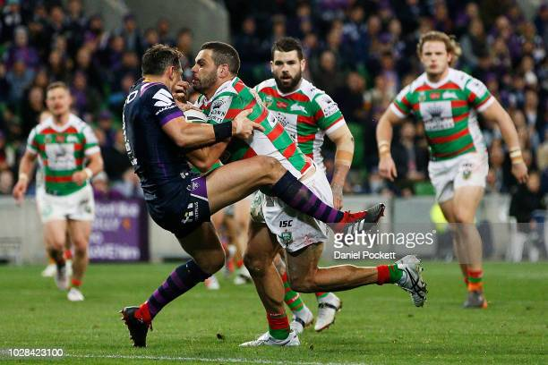 Greg Inglis of the Rabbitohs scores a try during the NRL Qualifying Final match between the Melbourne Storm and the South Sydney Rabbitohs at AAMI...