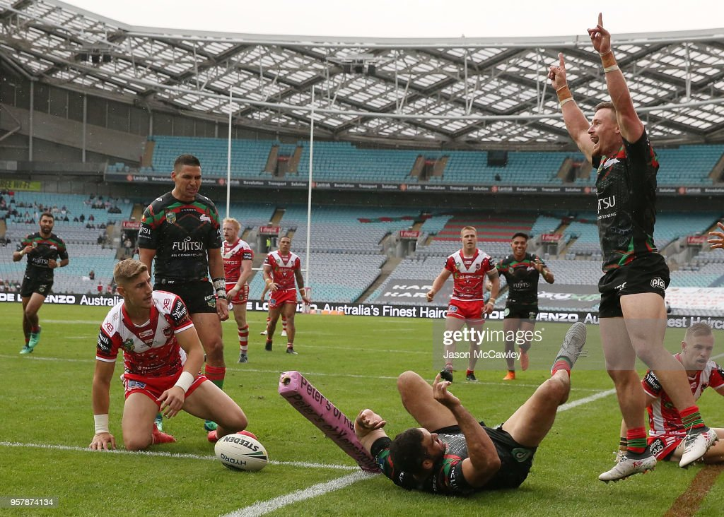 Greg Inglis of the Rabbitohs scores a try during the round 10 NRL match between the South Sydney Rabbitohs and the St George Illawarra Dragons at ANZ Stadium on May 13, 2018 in Sydney, Australia.