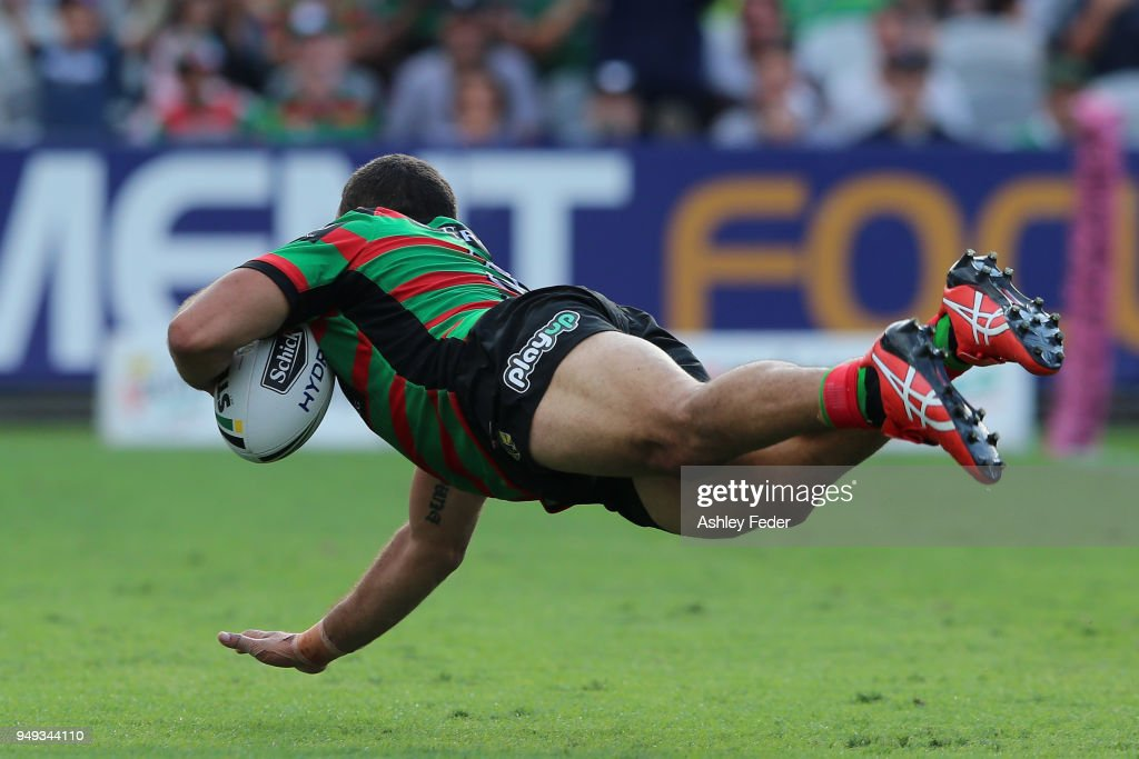 Greg Inglis of the Rabbitohs scores a try during the round seven NRL match between the South Sydney Rabbitohs and the Canberra Raiders at Central Coast Stadium on April 21, 2018 in Gosford, Australia.