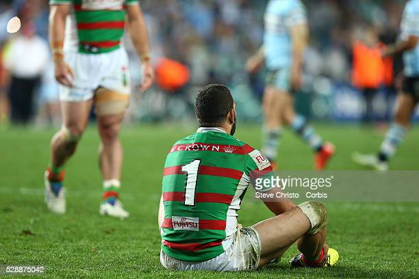 Greg Inglis of the Rabbitohs sits after being knocked out by the Sharks during the Elimination Final match between South Sydney Rabbitohs and...