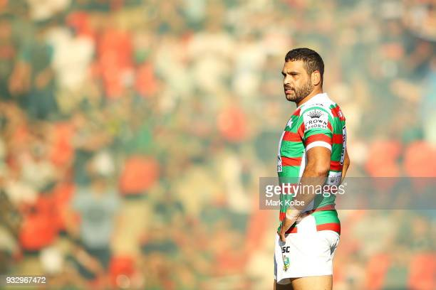 Greg Inglis of the Rabbitohs watches on during the round two NRL match between the Penrith Panthers and the South Sydney Rabbitohs at Penrith Stadium...