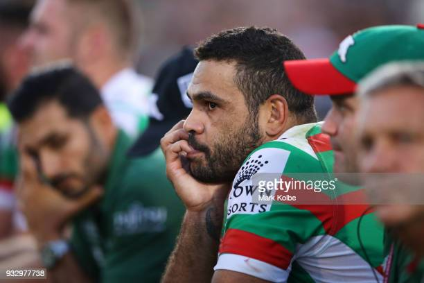 Greg Inglis of the Rabbitohs watches on from the bench during the round two NRL match between the Penrith Panthers and the South Sydney Rabbitohs at...