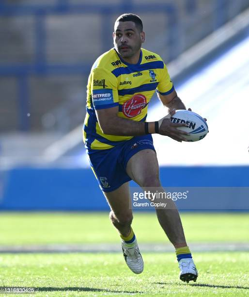 Greg Inglis of Warrington during the Betfred Challenge Cup quarter final between Catalans Dragons and Warrington Wolves at Emerald Headingley Stadium...